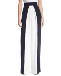 Cushnie Et Ochs Colorblock High Waist Pants Navy White Blue