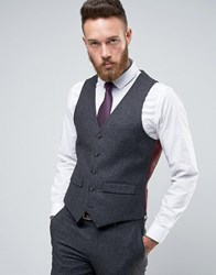 Harry Brown Heritage Slim Fit Donegal Waistcoat Charcoal Grey