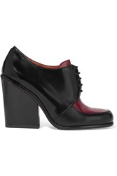 Marc By Marc Jacobs Two Tone Glossed Leather Ankle Boots Red