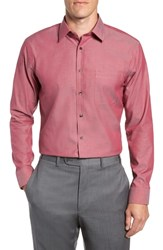 Nordstrom Big And Tall Shop Trim Fit Non Iron Solid Dress Shirt Red Cordovan