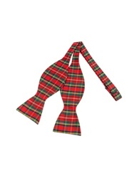 Forzieri Red And Green Plaid Printed Silk Self Tie Bowtie