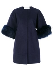 Ava Adore Fur Lined Fitted Coat Polyamide Polyester Acetate Raccoon Dog Blue