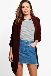 Boohoo Isla Waterfall Cardigan Wine