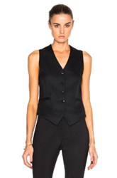 Victoria Beckham Sable Wool And Viscose Waistcoat In Black