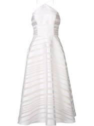 Christian Siriano Striped Halter Neck Dress White