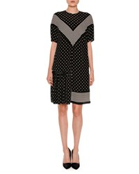 Stella Mccartney Short Sleeve Chevron Striped Polka Dot Dress Black