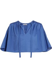 Vika Gazinskaya Cropped Cotton Blouse Blue