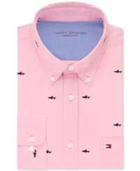 Tommy Hilfiger Men's Slim Fit Comfort Wash Untucked Dress Shirt Only At Macy's Dusty Pink Shark Embroidered