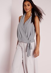 Missguided Wrap Hem Sleeveless Tie Blouse Grey