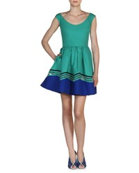 Fendi Scoop Neck Wave Cotton Dress Aqua Blue