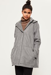 Missguided Grey Premium Textured Parka