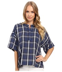 Calvin Klein Jeans Plaid Henley 3 4 Sleeve Shirt Indigo Night Women's Long Sleeve Button Up Blue