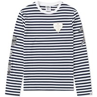 Billionaire Boys Club Long Sleeve Damage Stripe Tee White