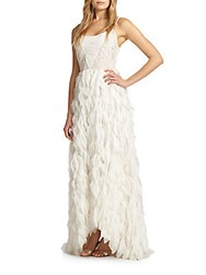 Alice Olivia Eaddy Embroidered Feather Gown White