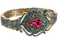 Betsey Johnson Boho Betsey Peacock Feather Hinged Bangle Multi Bracelet