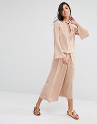 Neon Rose Pleat Front Wide Leg Trouser Co Ord Beige Orange