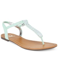 Material Girl Sage T Strap Flat Thong Sandals Only At Macy's Women's Shoes Mint
