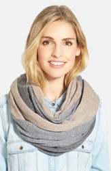 Halogen Tricolor Cashmere Infinity Scarf Heather Grey Combo