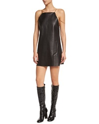 Alexis Zoya Sleeveless Leather Shift Dress Black