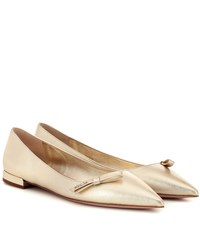 Prada Metallic Leather Ballet Flats Gold