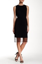 Hugo Boss Deplyti Accordion Pleat Silk Blend Dress Black