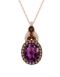 Le Vian Amethyst Chocolate Quartz And Vanilla Topaz 14K Rose Gold Pendant Necklace Purple