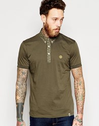 Pretty Green Polo Shirt With Printed Collar In Khaki Green