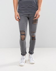 New Look Skinny Jeans With Extreme Rips In Gray Wash Gray