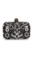 Santi Faux Pearl Clutch Black White