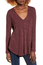 Lush Women's Heathered V Neck Tee Wine