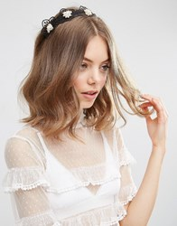 Asos Limited Edition Lace Faux Pearl Headband Black