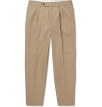 Mr P. Black Slim Fit Tapered Pleated Cotton Twill Trousers Brown