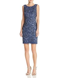 Aidan Mattox Floral Beaded Cocktail Dress Steel Blue