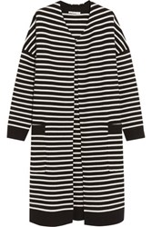 Maje Oversized Striped Knitted Cardigan Black