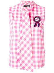 Love Moschino Pussy Bow Sleeveless Top Pink Purple