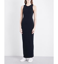 James Perse Textured Cotton Blend Maxi Dress French Navy