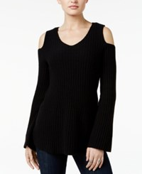 Styleandco. Style Co. Petite Cold Shoulder Sweater Only At Macy's Deep Black