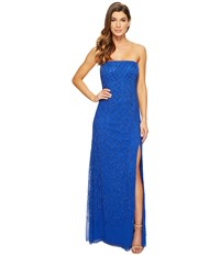 Adrianna Papell Strapless Beaded Gown With Modified Mermaid Skirt And High Slit Royal Women's Dress Navy