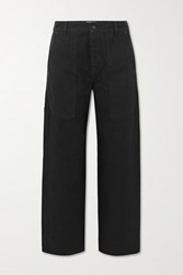 The Row Hester Cropped Mid Rise Straight Leg Jeans Black