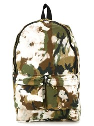Off White Camouflage Print Backpack Green