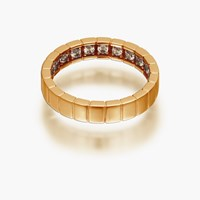 Openjart Diamonds Inside Women's Wedding Ring With Stripes Gold Plated