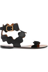Chloe Scalloped Suede Trimmed Leather Sandals Black