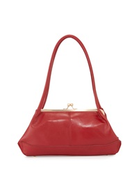 Hobo Gina Leather Kiss Lock Handbag Red