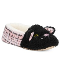 Kensie Sparkle Tweed Cat Critter Slippers Blush Pink