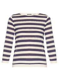 A.P.C. Ajoure Long Sleeved Cotton Jersey Top Blue Stripe
