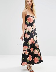 Asos Maxi Dress In Summer Floral With Button Detail Multi