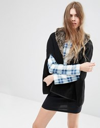 Asos Cape With Faux Fur Collar Black