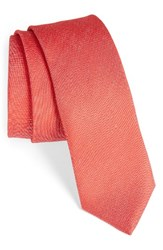 Boss Men's Solid Silk And Linen Tie Medium Red