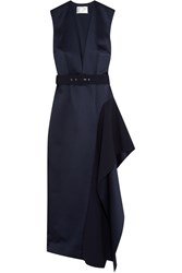 Solace London Simpson Asymmetric Belted Charmeuse Midi Dress Navy