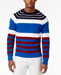 Tommy Hilfiger Men's Brent Striped Crew Neck Cotton Sweater Nautical Blue Multi